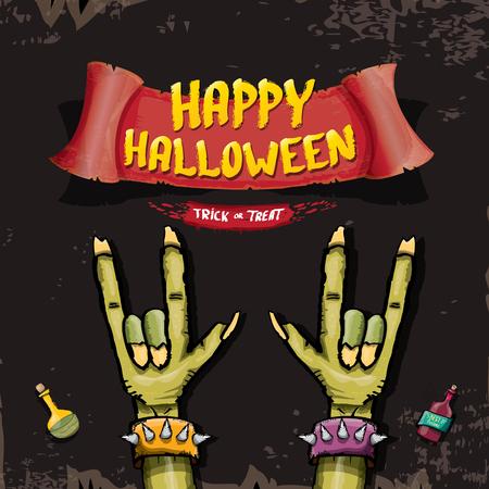 rockstar: Happy halloween vector greeting card with zombie hand. vector halloween background