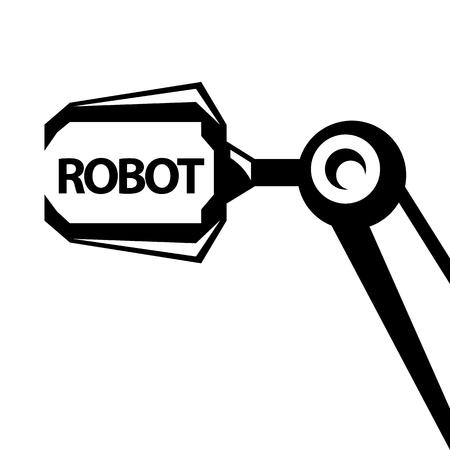 Modello di progettazione sfondo di tecnologia pulita. Simbolo del braccio robot robot vettoriale. Mano del robot.