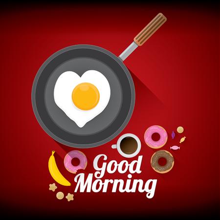 platanos fritos: buen concepto de la mañana. desayuno frito gallina o el huevo de gallina con la taza de café, rosquillas dulces, galletas, frutas. collage de vector de fondo de alimentos