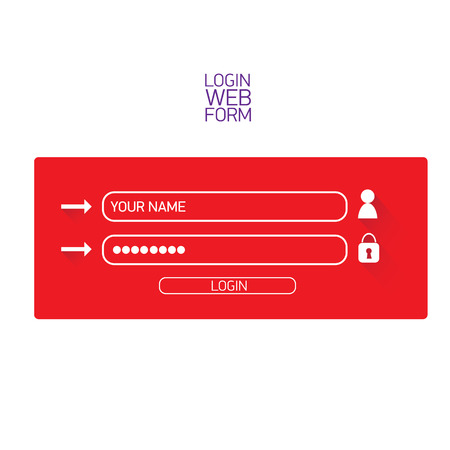 page long: vector Login website template flat design. website login form