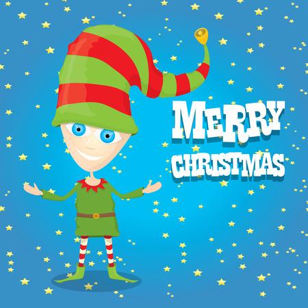vector vector cartoon cute happy christmas elf merry christmas illustration - Merry Christmas Elf