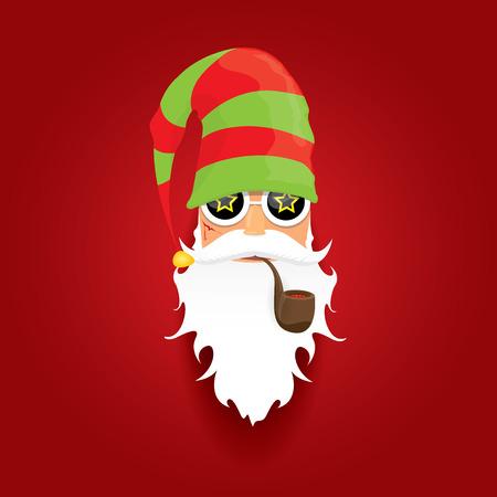 vector de rock n roll Santa Claus con pipa de fumar y la barba funky. Fondo del cartel del inconformista navidad o el concepto de navidad vector de fondo alegre.