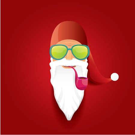 rock n: vector rock n roll santa claus with smoking pipe and funky beard. Christmas hipster poster background or merry christmas concept vector background.