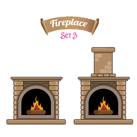 gas fireplace: fireplace icon set isolated on white. Burning brown brick fireplace with firewood. Illustration