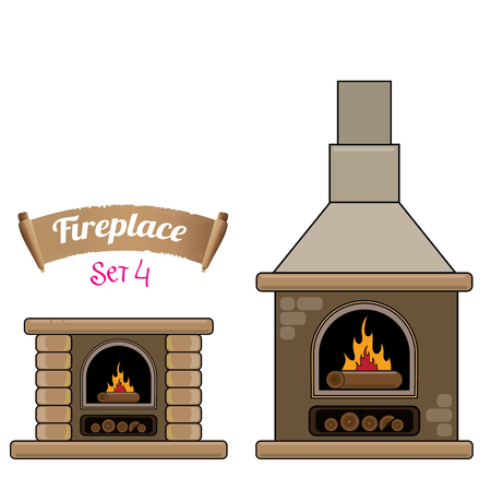 fireplace icon set isolated on white. Burning brown brick fireplace with firewood. Vector Illustration