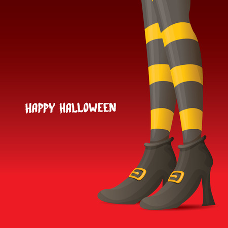 sexy stockings: vector girls legs with stripped stockings. witch legs halloween background Illustration