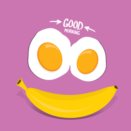vector good morning funny concept vector background. Good morning smile made from banana and fried egg Illustration