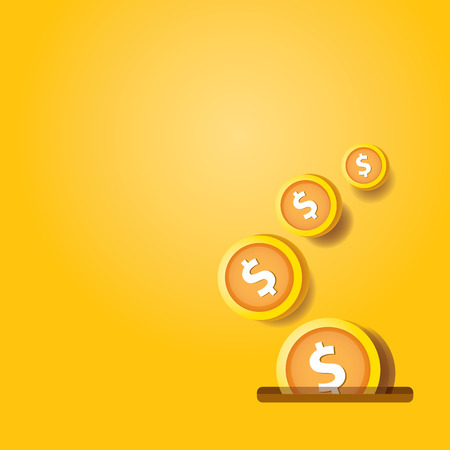 abstract business background with falling golden coins. flying coins vector background