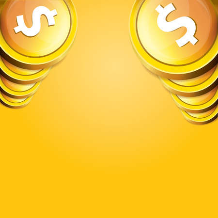 business flying: abstract business background with falling golden coins. flying coins vector background