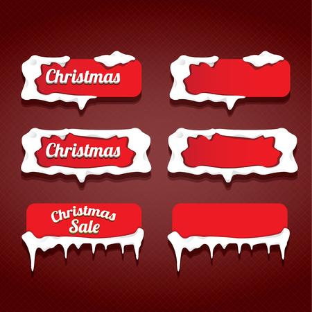 web buttons: red Christmas web buttons set. red winter web buttons collection Illustration