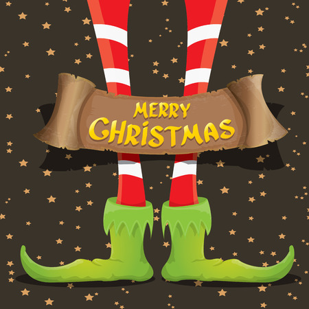 elfs: vector creative merry christmas greeting card with cartoon elfs legs, old vintage paper ribbon or banner and greeting handdrawn calligraphic text Merry christmas. Vector merry christmas background