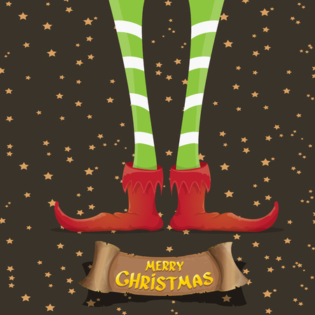 elf's: vector creative merry christmas greeting card with cartoon elfs legs, old vintage paper ribbon or banner and greeting handdrawn calligraphic text Merry christmas. Vector merry christmas background