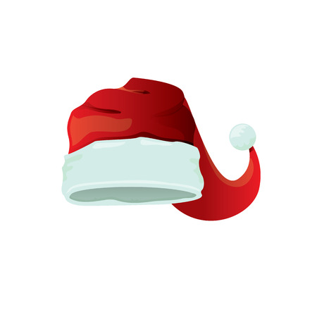 red cartoon santa claus hat isolated on white background. vector red santa hat icon isolated on white Çizim