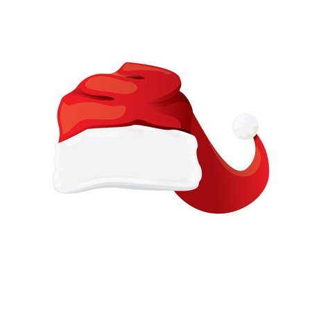 red cartoon santa claus hat isolated on white background. vector red santa hat icon isolated on white