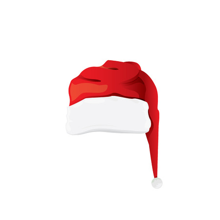 red cartoon santa claus hat isolated on white background. vector red santa hat icon isolated on white Illustration