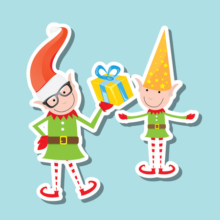 playful: vector Illustration of the playful Santa elves on blue background
