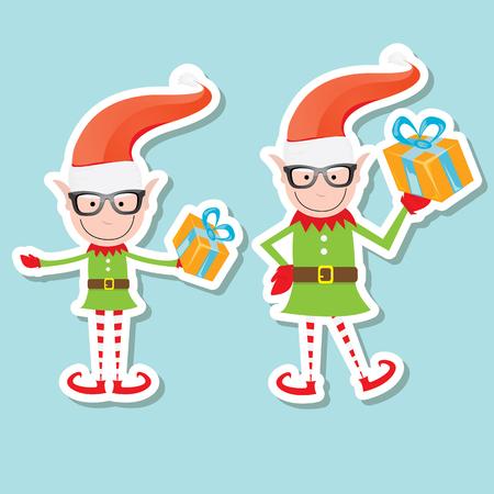 elves: vector Illustration of the playful Santa elves on blue background