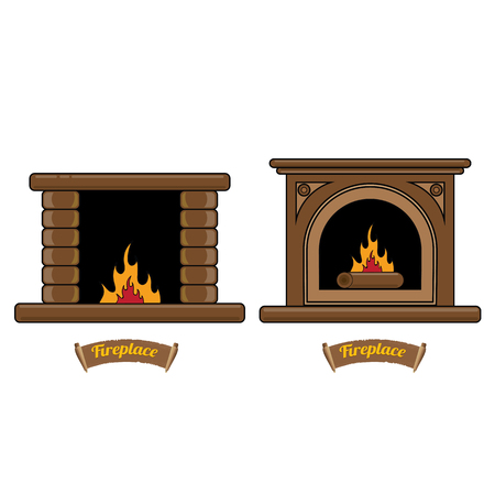 firewood: fireplace icon set isolated on white. Burning brown brick fireplace with firewood. Illustration
