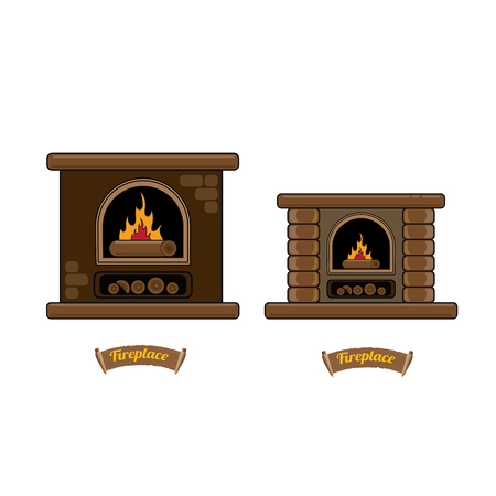 mantelpiece: fireplace icon set isolated on white. Burning brown brick fireplace with firewood. Illustration