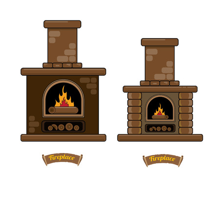 fireplace icon set isolated on white. Burning brown brick fireplace with firewood. Illustration