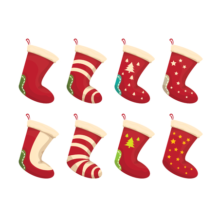 cartoon cute christmas stocking with color ornament isolated on white. christmas socks set