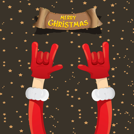 rock n: Santa Claus hand rock n roll gesture icon illustration. Christmas Rock n roll concert poster design template or greeting card. Rockstar concept
