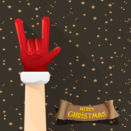rock n: Santa Claus hand rock n roll gesture icon  illustration. Christmas Rock n roll concert poster design template or greeting card. Rockstar concept Illustration