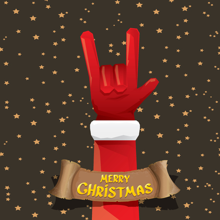 rockstar: Santa Claus hand rock n roll gesture icon illustration. Christmas Rock n roll concert poster design template or greeting card. Rockstar concept