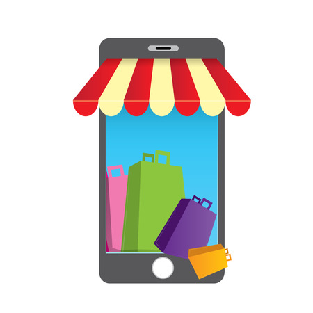 Online mobile shopping concept background
