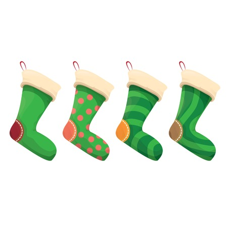 cartoon cute christmas stocking with color ornament isolated on white