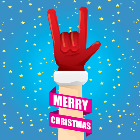 rockstar: Santa Claus hand rock n roll gesture icon illustration. Christmas Rock n roll concert poster design template or greeting card.