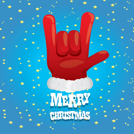 rock n: Santa Claus hand rock n roll gesture icon illustration. Christmas Rock n roll concert poster design template or greeting card.