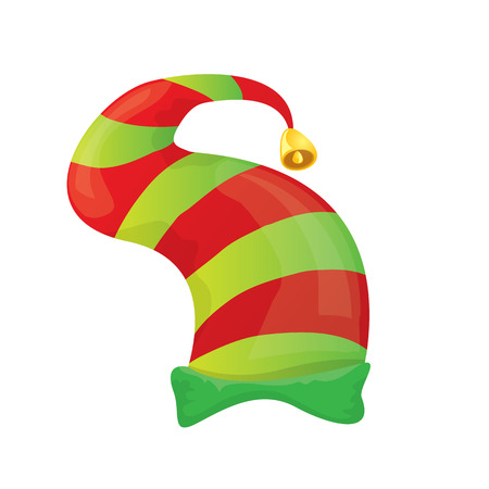 new year s santa claus: red and green stripped cartoon christmas elf hat isolated on white.
