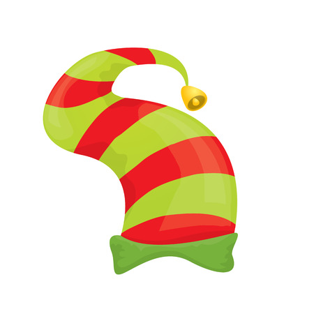 santa s helper: red and green stripped cartoon christmas elf hat isolated on white.