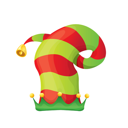 santa s elf: red and green stripped cartoon christmas elf hat isolated on white.