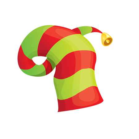stripped: red and green stripped cartoon christmas elf hat isolated on white.