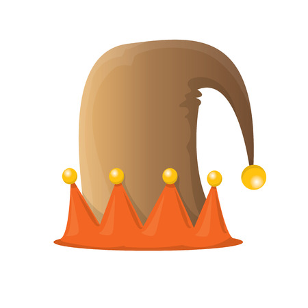 funky orange and brown cartoon christmas vector elf hat isolated on white. vector elf hat icon or label
