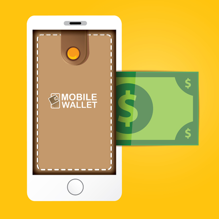e cash: vector digital mobile wallet vector concept icon. smartphone screen with wallet on screen. Internet banking concept. wireless money transfer.