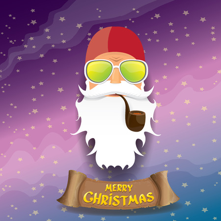 rock n: vector rock n roll santa claus with smoking pipe, funky beard and santa hat. Christmas hipster poster background or merry christmas concept vector background. Illustration