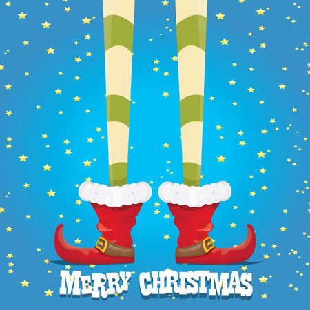 elf's: vector creative merry christmas greeting card, christmas cartoon elfs legs on blue background