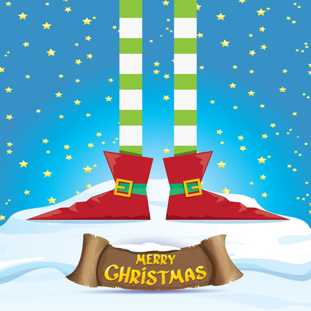 elf's: vector creative merry christmas greeting card with cartoon elfs legs on snowy north pole with christmas lights and greeting christmas calligraphic text on old vintage paper banner ribbon.