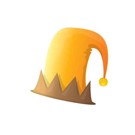stripped: funky orange and brown stripped cartoon christmas vector elf hat isolated on white. vector elf hat icon or label