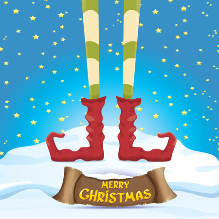 creative merry christmas greeting card with cartoon elfs legs on snowy north pole with christmas lights and greeting christmas calligraphic text on old vintage paper banner ribbon.
