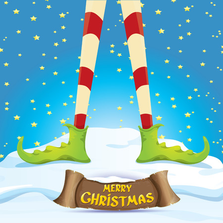 elf's: creative merry christmas greeting card with cartoon elfs legs on snowy north pole with christmas lights and greeting christmas calligraphic text on old vintage paper banner ribbon.