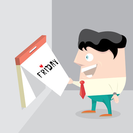 thanks god its friday concept with cartoon businessman office manager.