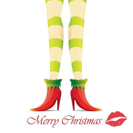 knee sock: creative merry christmas greeting card with cartoon elf girls legs and greeting calligraphic text Merry christmas isolated on white.