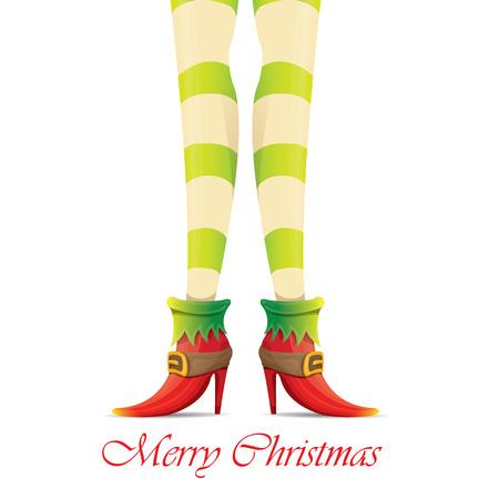 Feliz tarjeta de felicitación de la Navidad creativa con las piernas chicas de dibujos animados elfo y el texto del saludo caligráfica Feliz Navidad aislado en blanco.