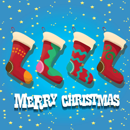 Vector Cartoon Cute Christmas Stocking Or Socks With Color Ornament Merry Greeting Card