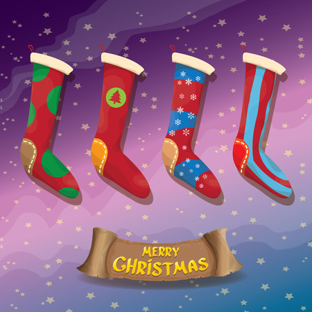 vector cartoon cute christmas stocking or socks with color ornament. Merry Christmas vector greeting card or background with christmas lights and calligraphic text on old vintage paper ribbon. Illustration