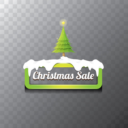 christmas vector green glossy button with green cartoon christmas tree and christmas lights web green